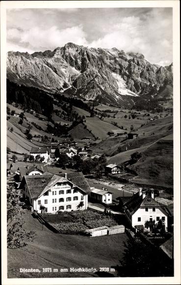Ak Dienten am Hochkönig in Salzburg, Gasthof zum Hochkönig, Ortschaft mit Landschaftsblick