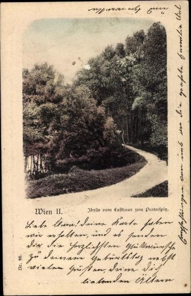 Ak Wien 2. Leopoldstadt Österreich, Idylle vom Lufthaus zum Praterspitz