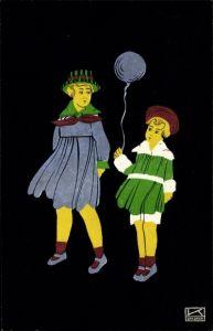 Scherenschnitt Künstler Ak Kallenbach, Hilde, Kinder mit Luftballon, Fapa
