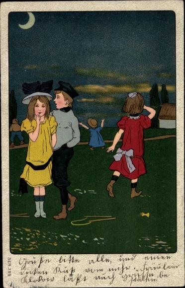 Künstler Ak Kinder am Abend, Spielzeug, Diabolo, Versteckspiel