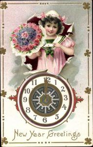 Präge Ak New Year Greetings, Glückwunsch Neujahr, Uhr, Mädchen, Blumen, Tuck 145