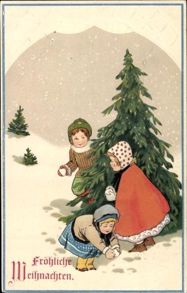 Präge Ak Frohe Weihnachten, Tannenbäume, Kinder, Schnee