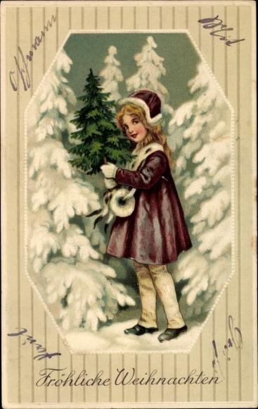 Präge Ak Frohe Weihnachten, Tannenbäume, Mädchen
