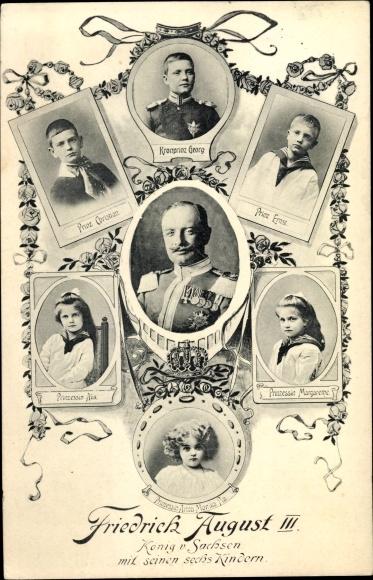 Ak König Friedrich August III. von Sachsen, Kronprinz Georg, Christian, Ernst, Alix, Margarethe 0