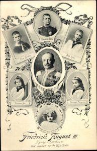 Ak König Friedrich August III. von Sachsen, Kronprinz Georg, Christian, Ernst, Alix, Margarethe