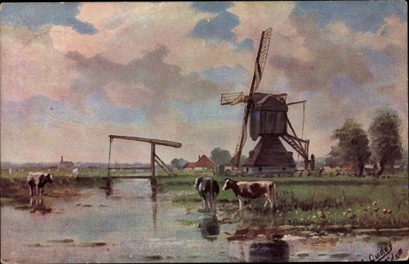 Künstler Ak Landschaft mit Windmühle, Kühe, Klappbrücke