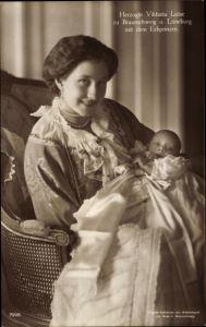 Ak Prinzessin Victoria Luise von Preußen, Portrait mit Erbprinz, Liersch 7005
