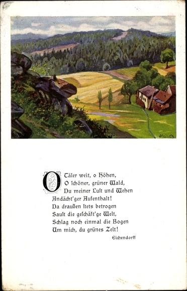 Gedicht Ak Mailick, O Täler weit, o Höhen, Eichendorff