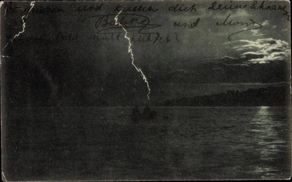 Ak Blitze über dem Wasser, Ruderboot, Gewitter