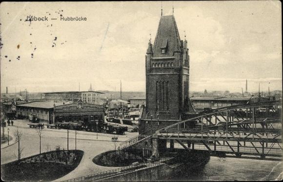 Ak Lübeck in Schleswig Holstein, Hubbrücke