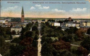 Ak Wilhelmshaven in Niedersachsen, Wilhelmsplatz, Christuskirche, Stationsgebäude, Wasserturm