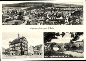 Ak Melsungen in Hessen, Panorama, Rathaus, Bürgerbrücke