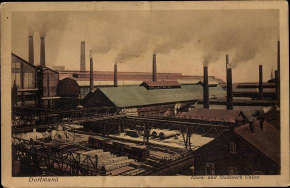 Ak Dortmund im Ruhrgebiet, Eisen- und Stahlwerk Union, Fabrikgelände