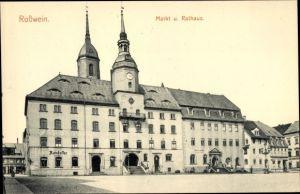 Ak Roßwein in Sachsen, Markt und Rathaus