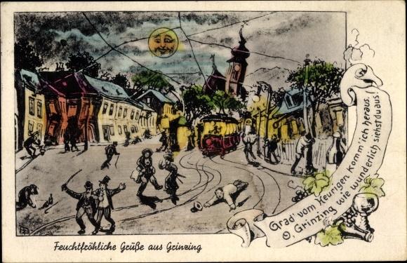 Mondschein Ak Wien 19. Döbling Österreich, Grinzing, Verzogene Häuser, Betrunkener, Mondgesicht