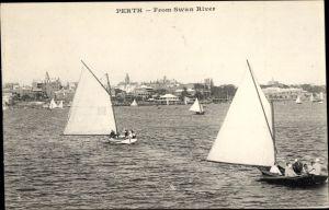 Ak Perth Western Australia Australien, Swan River, Segelboote