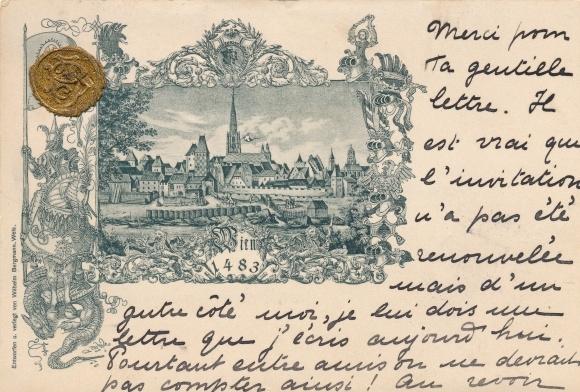 Künstler Material Ak Wien Österreich, Historisches Bild der Stadt im Jahre 1483, Siegel