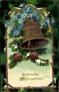Ak Frohe Weihnachten, Glocke, Tannenzweig, Tannenzapfen, Blumen