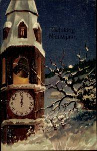 Präge Ak Gelukkig Nieuwjaar, Glückwunsch Neujahr, Uhr, Glocke, Glockenturm