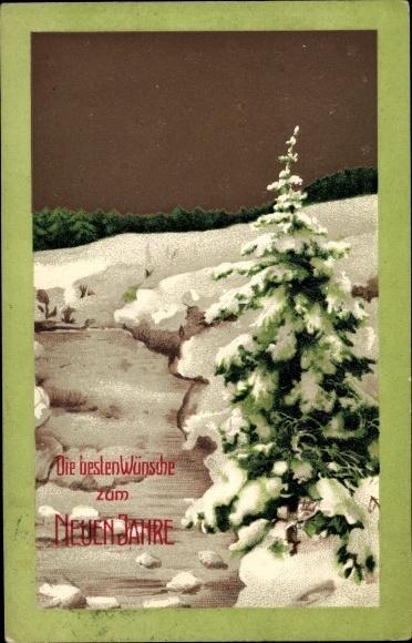 Präge Ak Glückwunsch Neujahr, Tannenbaum, Schnee, Sterne