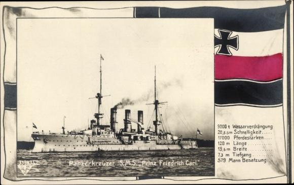 Passepartout Ak Deutsches Kriegsschiff, SMS Prinz Friedrich Carl, Panzerkreuzer, Kaiserliche Marine
