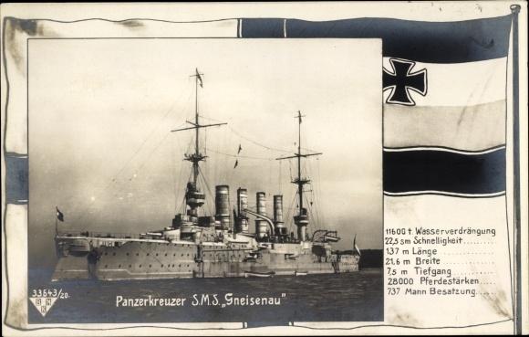 Passepartout Ak Deutsches Kriegsschiff, SMS Gneisenau, Panzerkreuzer, Kaiserliche Marine
