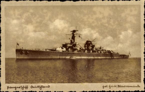 Ak Deutsches Kriegsschiff, Panzerschiff Deutschland, Reichsmarine