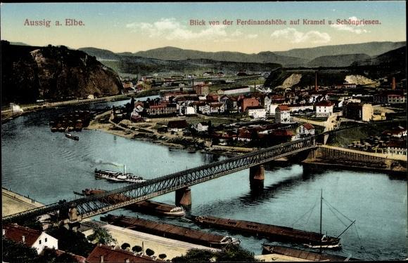 Ak Ústí nad Labem Aussig Elbe Stadt, Blick von der Ferdinandshöhe, Kramel, Schönpriesen