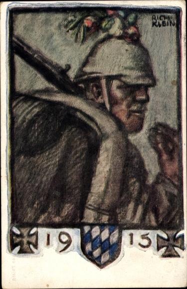 Künstler Ak Klein, Richard, Bayerische Kriegsinvalide Fürsorge, 1915, I. WK