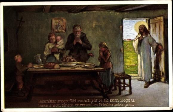 Künstler Ak Familie am Esstisch, Gebet für das deutsche Heer, Jesus