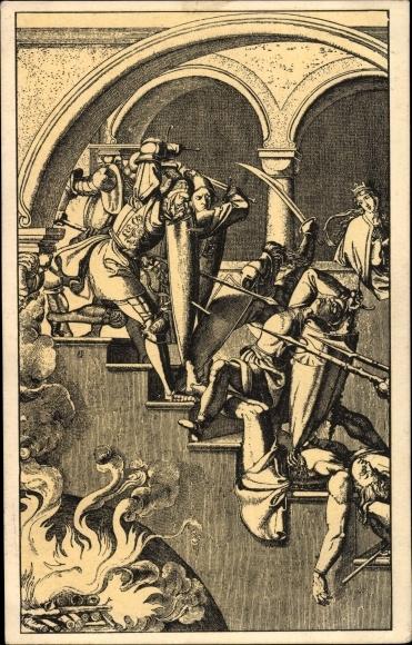 Künstler Ak Ritter bei der Verteidigung einer Treppe, Burg