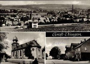 Ak Groß Düngen Bad Salzdetfurth in Niedersachsen, Panorama, Kirche, Geschäft