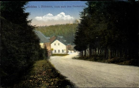 Ak Moldava Moldau Reg. Aussig, Fischerhaus