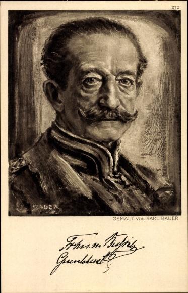 Künstler Ak Bauer, Karl, Generaloberst Moritz von Bissing, Portrait