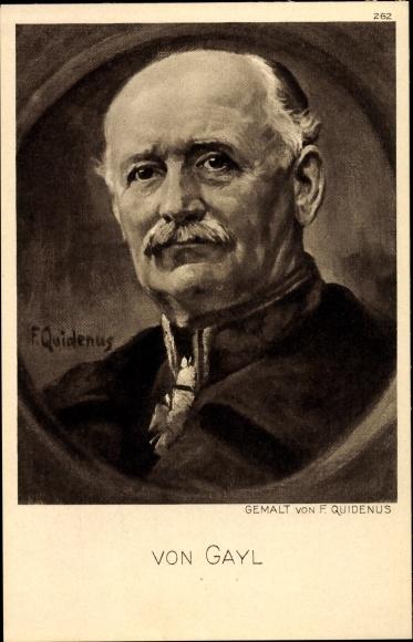 Künstler Ak Quidenus, Fritz, General Wilhelm Karl Friedrich Freiherr von Gayl, Portrait