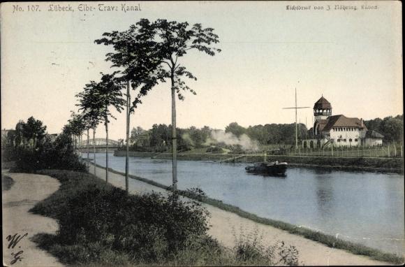 Ak Lübeck in Schleswig Holstein, Elbe Trave Kanal