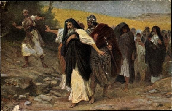 Künstler Ak Leinweber, R., Die Heilige Schrift, Serie IV, Bild 11, David auf der Flucht vor Absalon