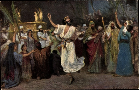 Künstler Ak Leinweber, R., Die Heilige Schrift, Serie IV, Bild 9, David tanzt vor der Bundeslade