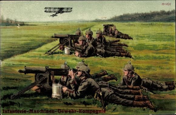 Ak Inanterie Maschinengewehr Kompagnie, MG Stand, Soldaten, Doppeldecker Flugzeug
