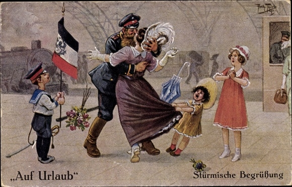 Künstler Ak Thiele, Arthur, Stürmische Begrüßung, Auf Urlaub, Dt. Soldat, Kinder, Bahnhofshalle