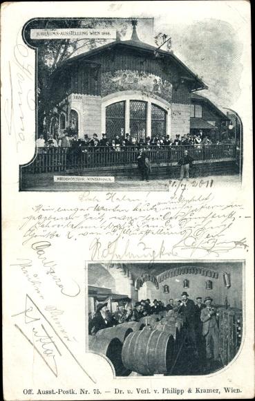 Ak Wien 1. Innere Stadt Österreich, Jubiläumsausstellung 1898, Niederösterr. Winzerhaus, Weinfässer