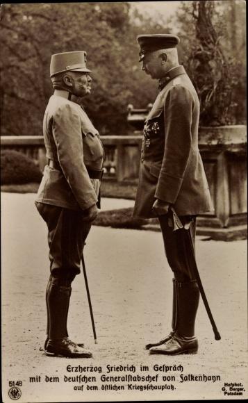 Ak Erzherzog Friedrich m. d. dt. Generalstabschef v. Falkenhann, Ostfront I. WK