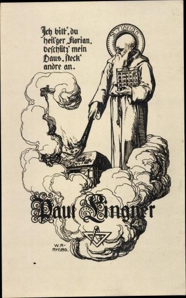 Künstler Ak St. Florian, Schutzpatron der Feuerwehr, Floriansjünger, Haus in Brand, Paul Lingner