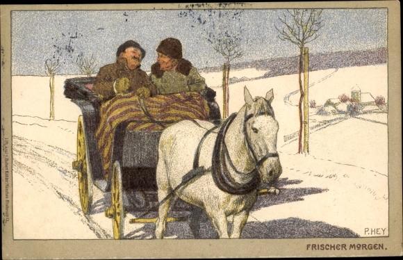Künstler Litho Hey, Paul, Frischer Morgen, Pferd, Kutsche