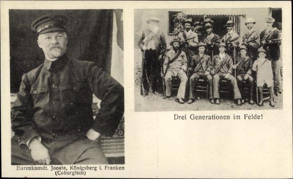 Ak Südafrika, Burenkrieg, Burenkommandant Koos Jooste, Königsberg, Drei Generationen im Felde