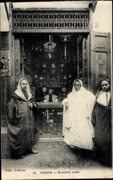 Ak Tanger Marokko, Éventaire arabe, Geschäft, Uhren
