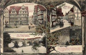 Ak Melsungen in Hessen, Brückenstraße, Bürgerbrücke, Fachwerkhäuser