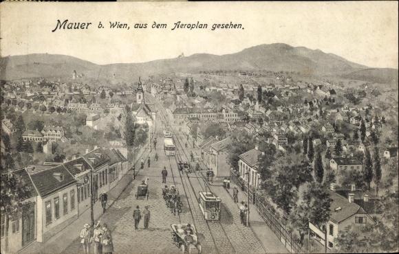 Ak Mauer Wien 23. Liesing Österreich, Ortschaft, Aus dem Aeroplan gesehen