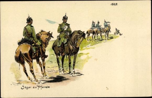 Künstler Litho Jäger zu Pferde, Soldaten
