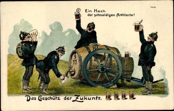 Litho Ein Hoch der schneidigen Artillerie, Das Geschütz der Zukunft, Bierkanone